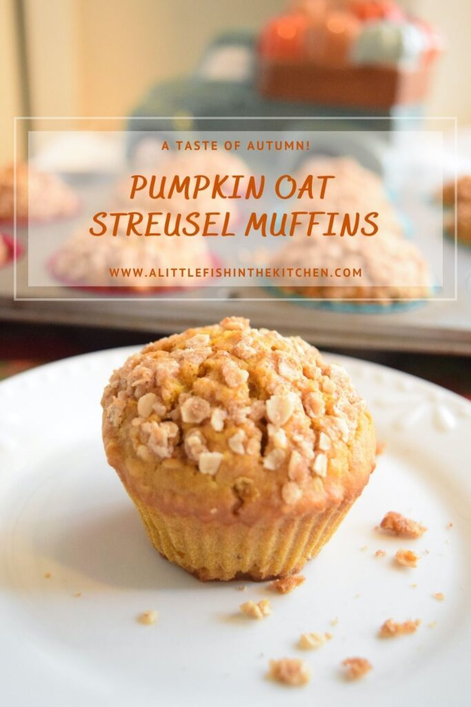 Pin image for Pumpkin Oat Streusel Muffins. One muffin sitting on a white plate.